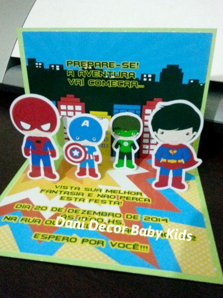 Convite De Aniversário Super Heróis Pop Up 3d Loja De Danidecorbaby